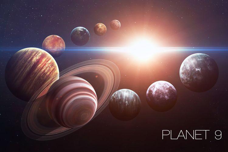 Ilustrasi sistem Tata Surya dengan sembilan planet. Planet 9 atau Planet X ditemukan astronom berdasarkan hipotesis matematika.