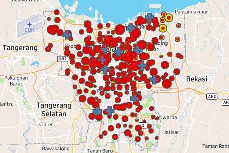 Peta persebaran kasus Covid-19 di Jakarta. Data per 2 Mei 2020, terlihat banyak titik merah menandakan kasus positif yang sudah menjangkiti 260 kelurahan dari 267 kelurahan yang ada di Jakarta.