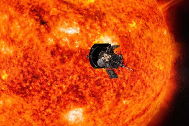 Ilustrasi satelit luar angkasa Parker Solar Probe Nasa yang mendekati Matahari.