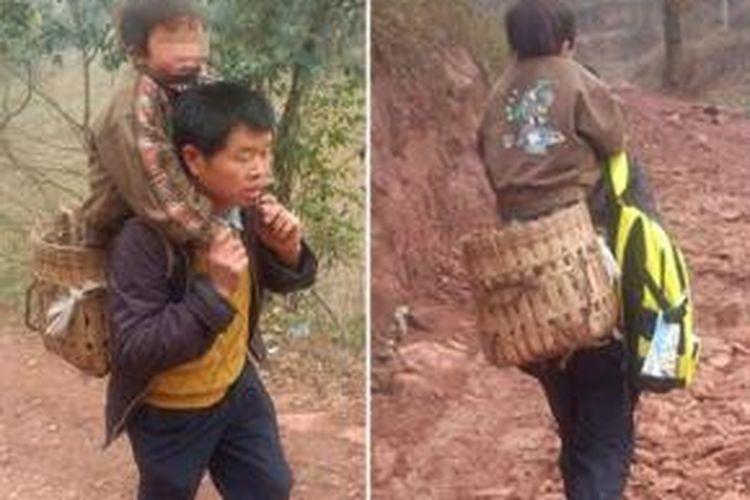 Yu Xukang (40), setiap hari menggendong putranya Xiao (12) yang cacat, naik turun bukit sejauh 16 kilometer untuk mengantarkan putranya ke sekolah.