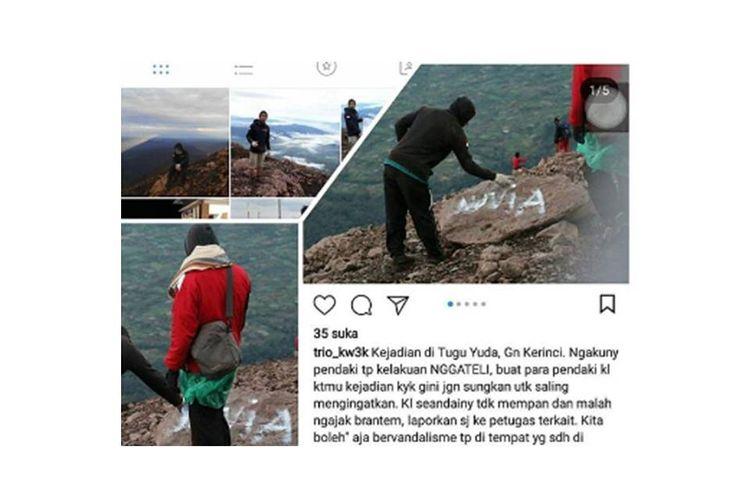 Vandalisme yang dilakukan seorang pendaki di Gunung Kerinci viral di media sosial