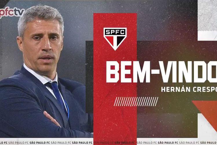 Hernan Crespo resmi menjadi pelatih baru tim Liga Brasil, Sao Paulo, pada Jumat (12/2/2022) waktu lokal.
