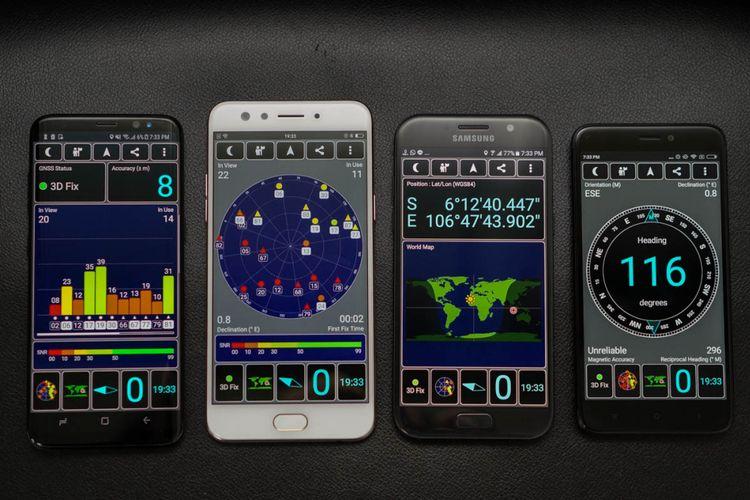 Software GPS Test digunakan untuk mengukur kinerja GPS di empat ponsel, yakni Samsung Galaxy S8 (paling kiri), Oppo F3 (kedua dari kiri), Xiaomi Redmi 4x (paling kanan), dan Galaxy A5 2017.