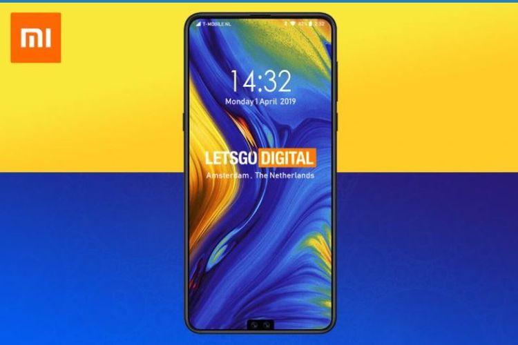 Ilustrasi desan ponsel Xiaomi dengan poni di bawah