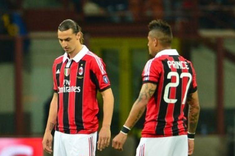 Zlatan Ibrahimovic dan Kevin-Prince Boateng pada laga Inter Milan vs AC Milan di Stadion Giuseppe Meazza, 6 Mei 2012.