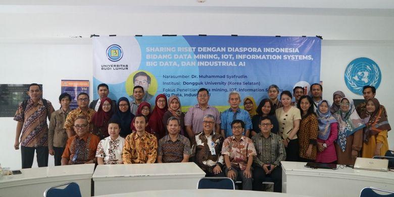 Sharing Riset dengan Diaspora Indonesia Bidang Data Mining, IOT, Information System, Big Data, dan Industrial Artificial Intellegent di Universitas Budi Luhur (UBL), Selasa (20/8/2019).