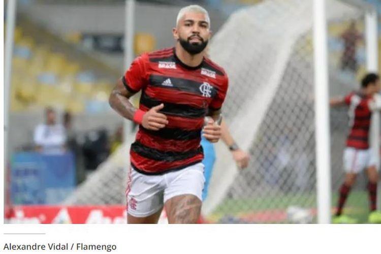 Penyerang Flamengo yang tengah dipinjamkan dari Inter Milan, Gabriel Barbosa, merayakan gol ke gawang Madureira pada laga Taca Rio, Selasa (19/3/2019).