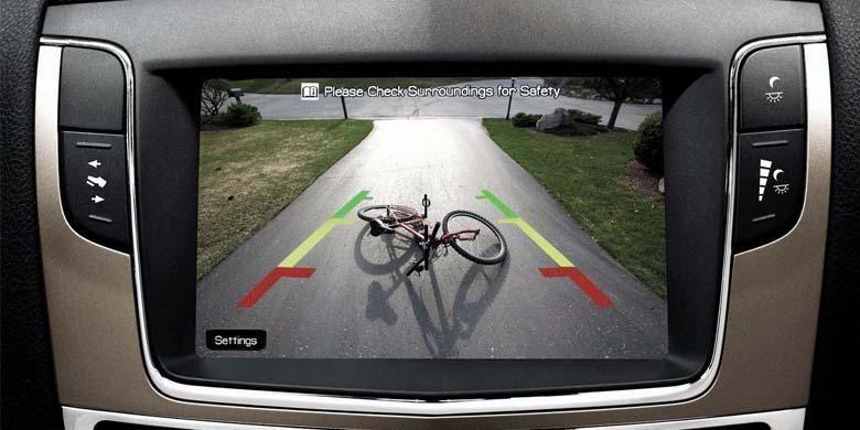 Tampilan di layar monitor, hasil kamera mundur.