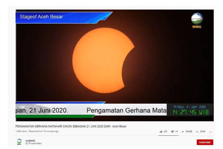 Penampakan Gerhana Matahari Cincin Sebagian di Aceh, Minggu (21/6/2020).