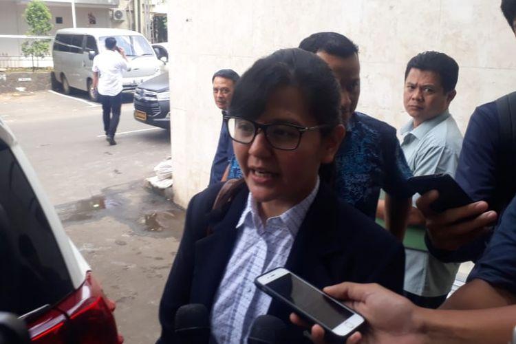Sekretaris Jenderal PSSI Ratu Tisha Destria di Polda Metro Jaya, Kamis (24/1/2019).