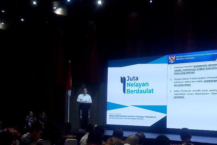 Menteri Koordinator Bidang Kemaritiman, Luhut Binsar Panjailan, meluncurkan program 1 Jula Nelayan Berdaulat di Telkom Landmark Tower, Jakarta, Senin (8/4/2019).