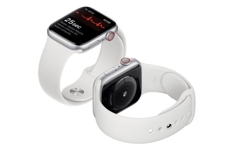 Ilustrasi fitur elektrokardiogram (EKG) di Apple Watch.