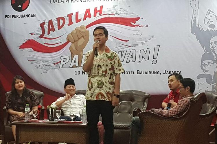 Gibran Rakabuming Raka saat menjadi pembicara di acara BMI, Matraman, Jakarta Timur, Minggu (10/11/2019).