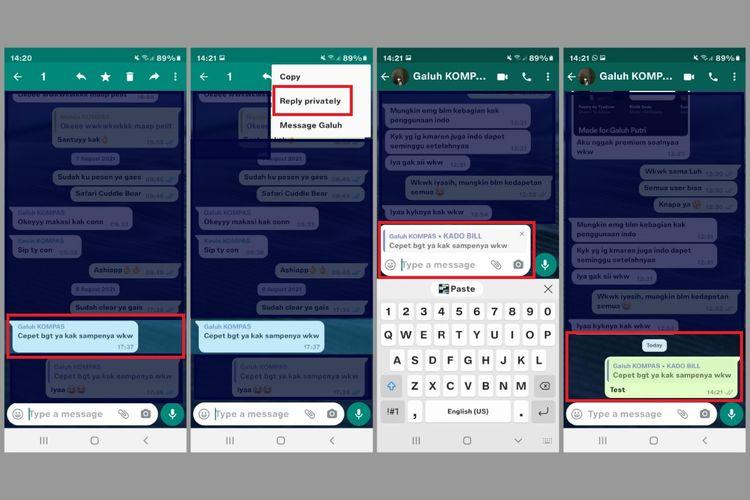 Cara menggunakan fitur Reply Privately untuk membalas pesan secara rahasia di Grup WhatsApp Android