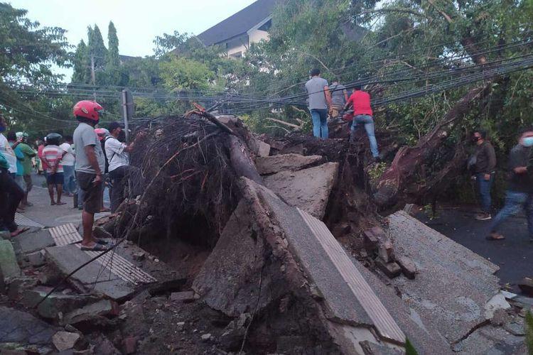Sebuah pohon beringin berukuran besar yang berada di jalan dr Latumeten Ambon tumbang dan menutup badan jalan di kawasan tersebut, Sabtu (27/2/2021)