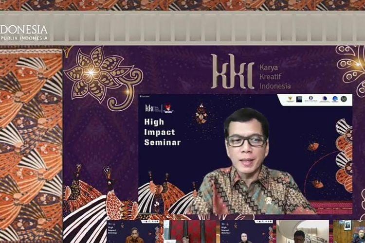 Menteri Pariwisata dan Ekonomi Kreatif Wishnutama    dalam  acara Karya Kreatif Indonesia yang disiarkan secara virtual, Minggu (30/8/2020). (Tangkapan Layar)