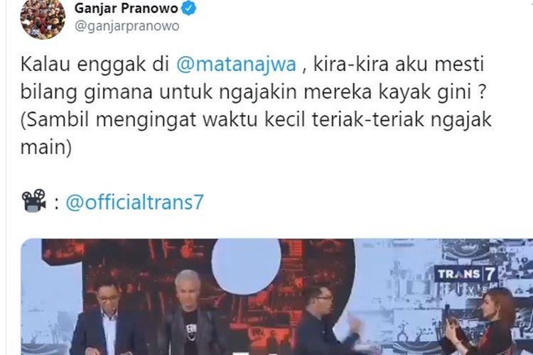 Melalui akun Twitternya, Ganjar mengunggah video saat dirinya bersama dua gubernur lainnya, yaitu Gubernur DKI Jakarta Anies Baswedan dan Gubernur Jawa Barat Ridwan Kamil ditantang Najwa Shibab untuk bermain TikTok.