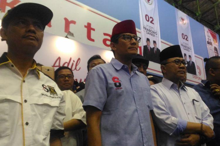 Sandiaga Uno melakukan kampanye terbuka di Gelanggang Olahraga Remaja Jakarta Utara, Senin (25/3/2019).