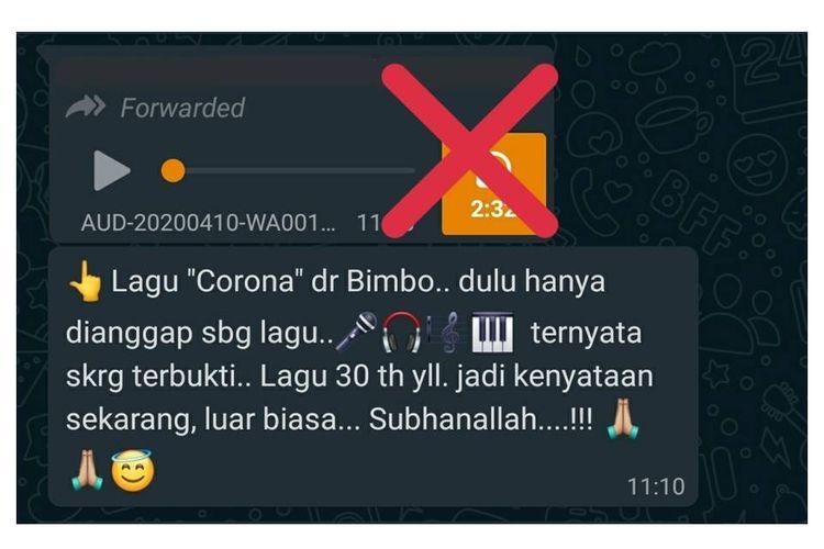 Pesan yang beredar di berbagai grup percakapan Whatsapp dan media sosial soal lagu Corona karya Bimbo yang disebut
