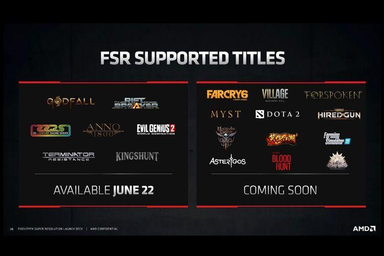 Game yang mendukung teknologi AMD FidelityFX Super Resolution di tahap peluncuran.