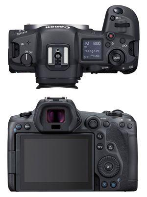 Kamera mirrorless full-frame Canon EOS R5, tampak atas dan belakang