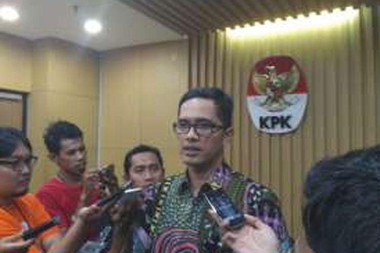 Juru Bicara KPK Febri Diansyah di gedung KPK, Jakarta, Rabu (28/12/2016)
