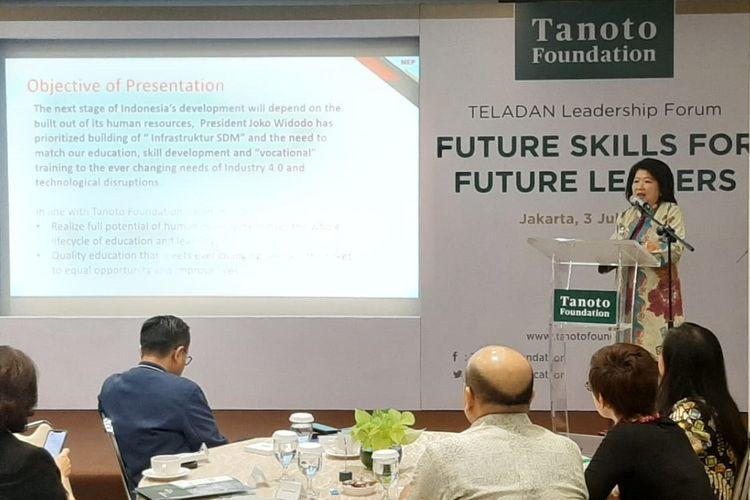 Mari Elka Pangestu dalam diskusi bertema Future Skills for Future Leaders di Jakarta.