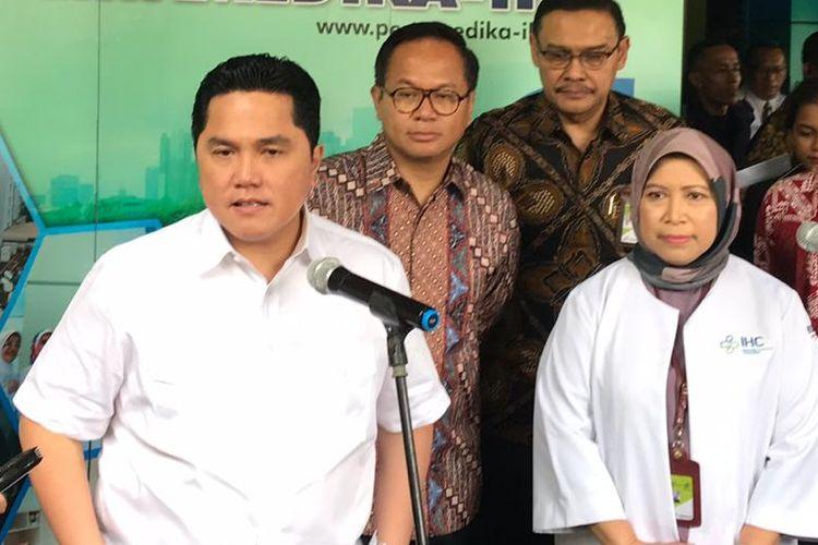 Menteri Badan Usaha Milik Negara (BUMN) Erick Thohir saat meninjau Rumah Sakit Pertamina Jaya, Rabu (11/3/2020).