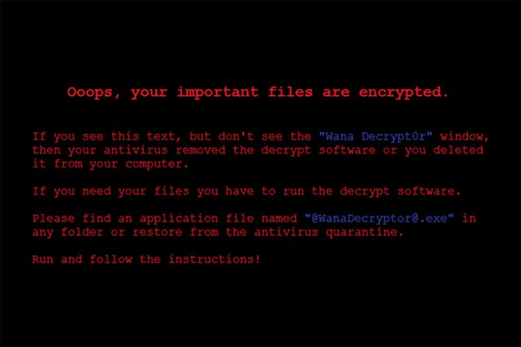Tampilan wallpaper di komputer korban yang diganti oleh ransomware Wanna Decryptor.
