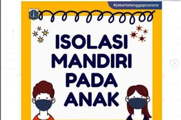 Panduan isolasi mandiri pada anak, info dari Dinas Pendidikan (Disdik) DKI Jakarta.