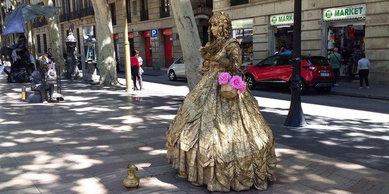 Kawasan La Rambla di Barcelona, Spanyol.