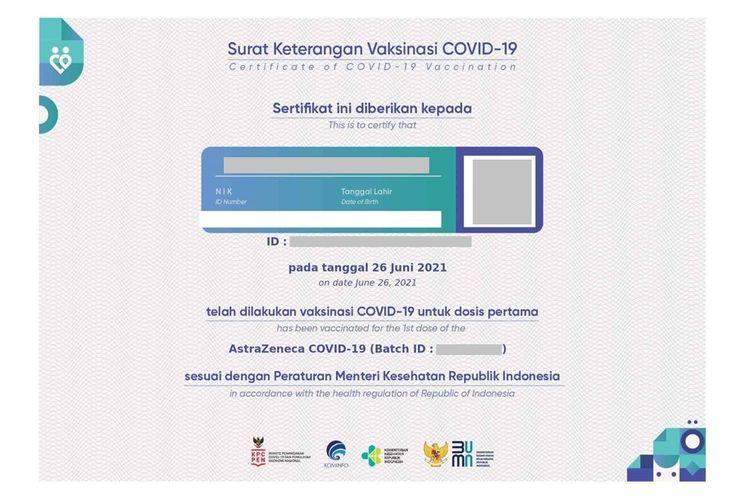 Contoh sertifikat vaksin Covid-19.