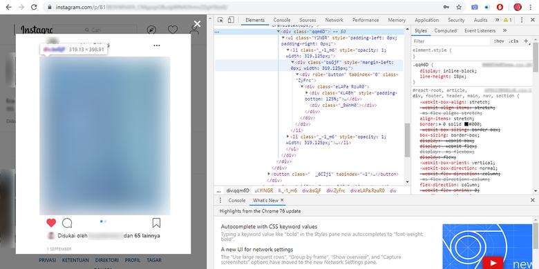 Tautan menuju foto akun privat di Instagram bisa dilihat dengan inspect element kode HTML, lalu membagikannya secara bebas.