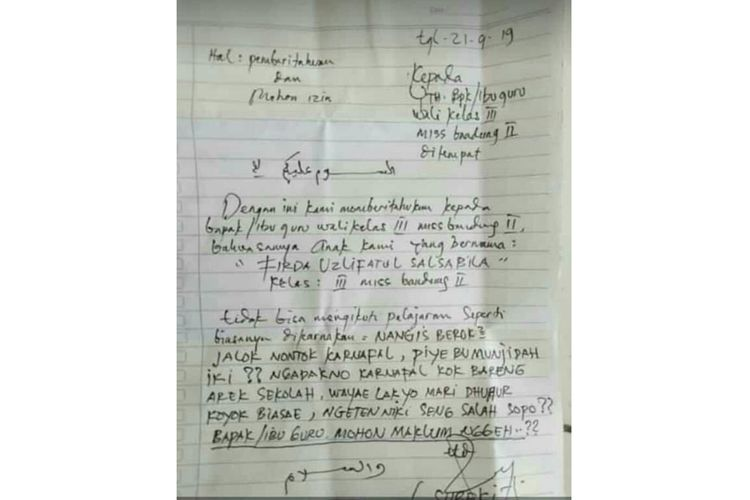 Cerita Di Balik Viralnya Surat Izin Tak Masuk Sekolah Untuk