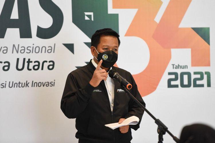Rektor Universitas Sumatera Utara (USU) Muryanto Amin menyatakan kesiapan menjadi tuan rumah penyelenggaraan Pekan Ilmiah Mahasiswa Nasional (Pimnas) ke-34 tahun 2021 dan menjamu 2.200 mahasiswa dari 100 perguruan tinggi di Indonesia yang berkompetisi di ajang tersebut (17/9/2021).