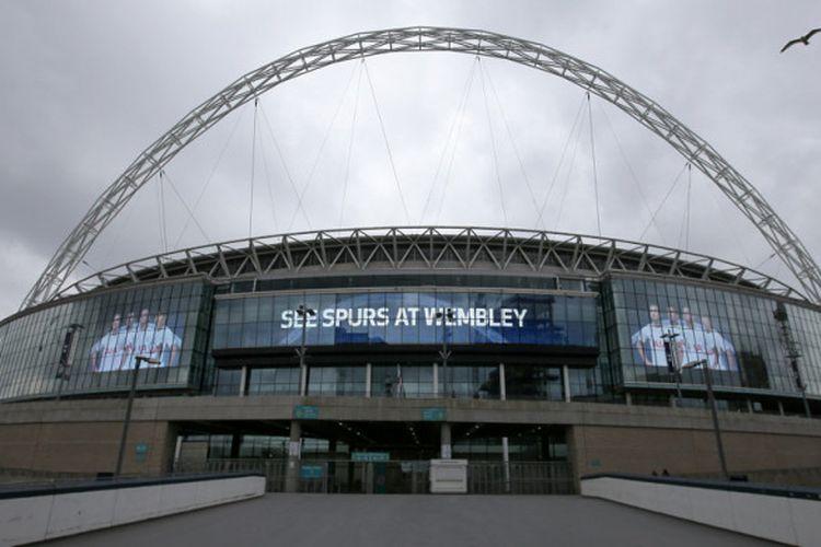 Pemandangan Stadion Wembley yang berlokasi di Kota London, Inggris, pada 27 April 2018.