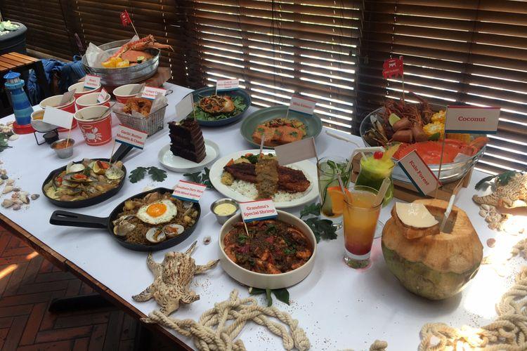 Berbagai pilihan menu baru dari The Holy Crab di Gunawarman, Jakarta, Rabu (12/9/2018).