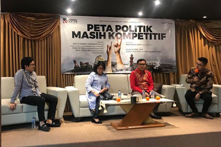 Suasana Konferensi Pers hasil survei Voxpol Center Research and Consulting di bilangan Cikini, Menteng, Jakarta Pusat, Selasa (9/4/2019).