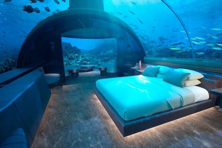 Kamar hotel bawah laut Muraka yang dibangun oleh Conrad Maldives Rangali di Maldives. Pembangunan vila hotel dengan kamar di bawah laut Samudera Hindia tersebut diklaim akan menjadi yang pertama di dunia.