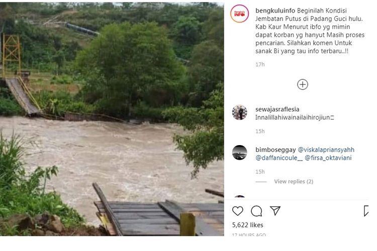 Jembatan gantung putus di lokasi wisata Desa Manau Sembilan II, Kecamatan Padang Guci Hulu, Kabupaten Kaur, Bengkulu, Minggu (19/1/2020) pukul 15.00 WIB.