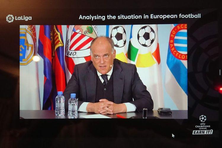 Presiden LaLiga, Javier Tebas, berbicara kepada wartawan dari seluruh dunia, termasuk Kompas.com, pada sebuah sesi konferensi pers virtual pada Kamis (22/4/2021) malam WIB.