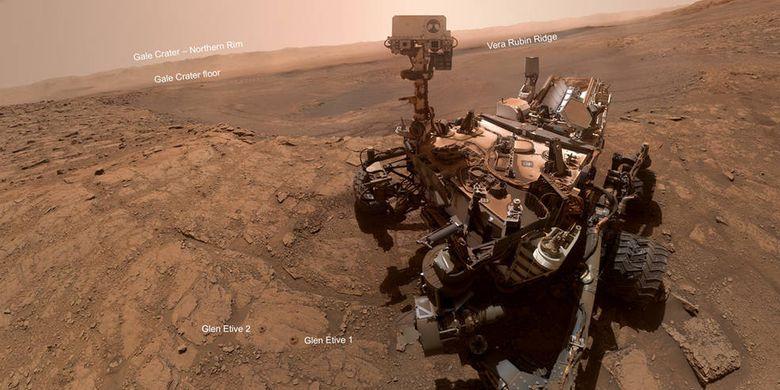 Lokasi pengeboran robot penjelajah Mars Curiosity. Pengeboran dilakukan untuk mengambil sampel batuan Mars.