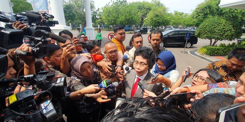 Hakim Albertina Ho menyambangi Istana Kepresidenan, Jumat (20/12/2019) siang menjelang pelantikan anggota dewan pengawas Komisi Pemberantasan Korupsi.