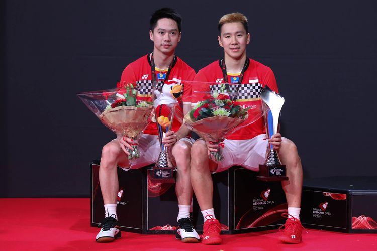 Pasangan ganda putra Indonesia, Marcus Fernaldi Gideon/Kevin Sanjaya Sukamuljo.