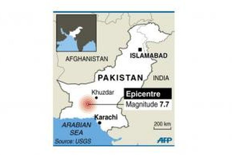 Peta lokasi yang terdampak gempa berkekuatan 7,7 Skala Richter pada Selasa (24/9/2013) petang.