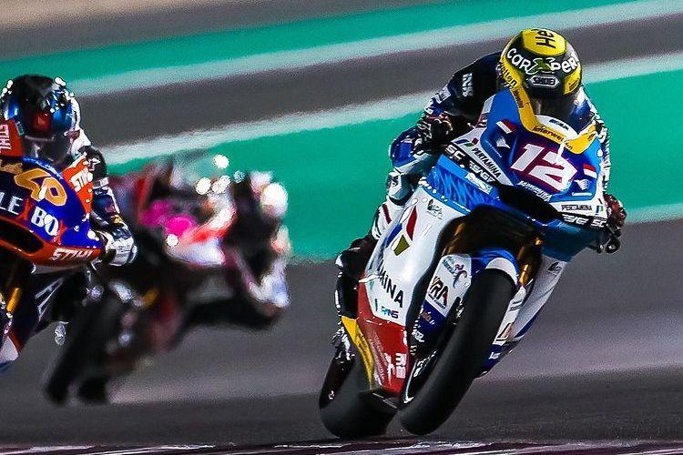 Thomas Luthi saat balapan di Moto2 Doha 2021