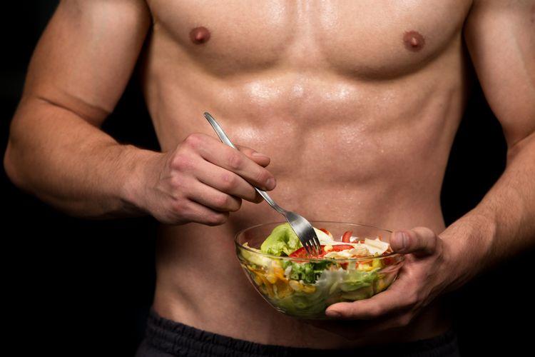 Ilustrasi pria dan makanan sehat