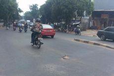 Jalan Pos Pengumben Ambles, Banyak Pengendara Kecelakaan