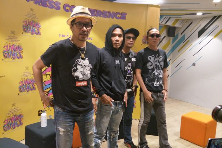 Grup band Slank dalam jumpa pers di Mal FX, Jakarta Pusat, Kamis (28/11/2019).