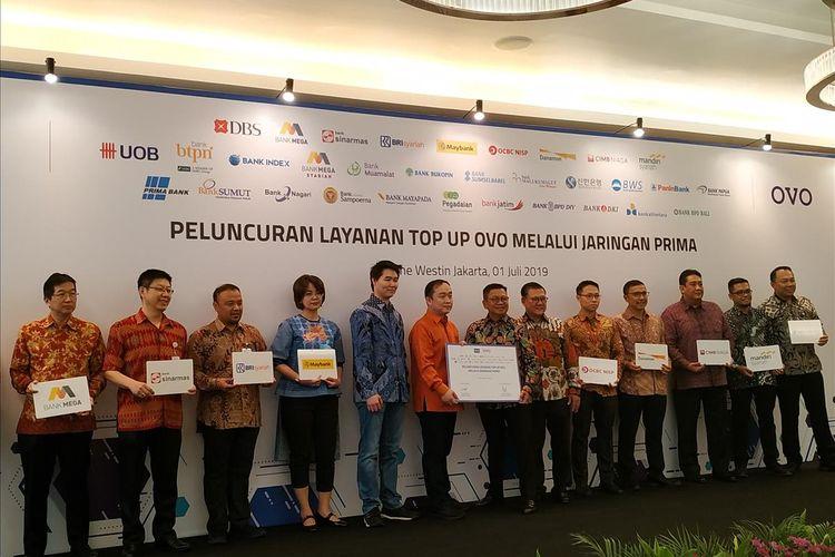 PT Visionet Internasional atau OVO menjalin kerja sama dengan PT Rintis Sejahtera sebagai pengelola Jaringan PRIMA dengan meneken nota piagam di The Westin Hotel, Jakarta, Senin, (1/7/2019).